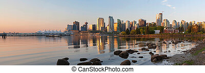Vancouver BC Skyline from Stanley Park at Sunrise Panorama -...