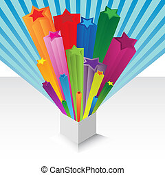 Gift with colorful star explosion - Illustration of a gift...