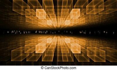 Data Flow, Communication Concept - matrix, orange...