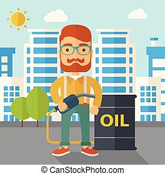Businessman with oil can and pump. - A caucasian businessman...