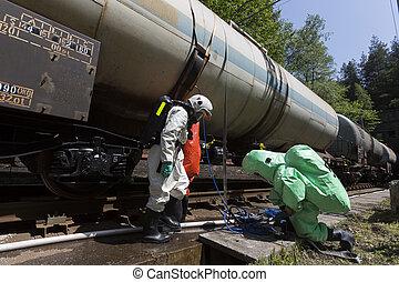 choque, emergencia, ácidos, químicos, tren, equipo, tóxico