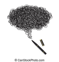 Ink drawing with black pen - Illustration of a blot of ink...