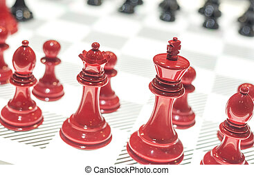 Red and Black Chessboard - Red and Black Chess Pieces on...