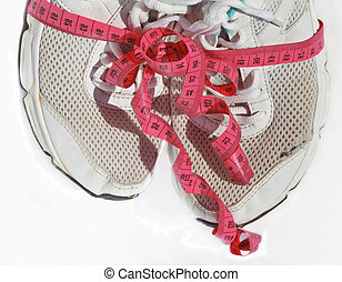 shabby elder training shoes with measuring tape like a gift,...