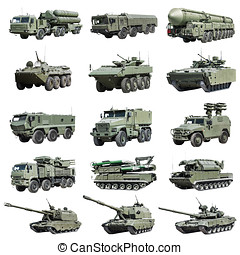 Armoured military vehicles Russia isolated on white...