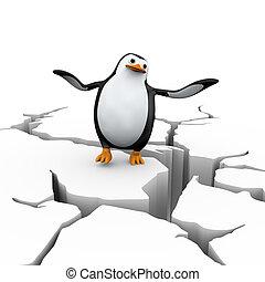 3d disbalance penguin on cracked ground - 3d illustration of...
