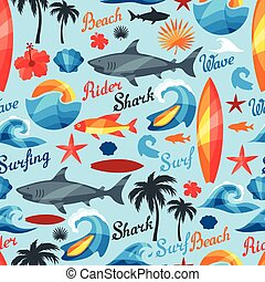Seamless pattern with surfing design elements and objects.
