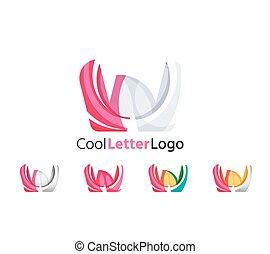 Set of abstract W letter company logos. Business icons, overlapping flowing waves