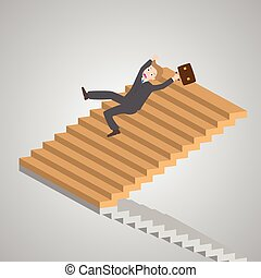 businessman slipping down on the stairs, vector,...
