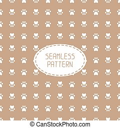 Seamless pattern with animal footprints, cat, dog Wrapping...