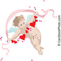 Cupid with wings on a white background