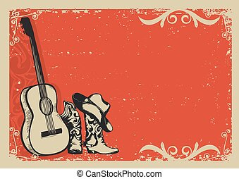 Vintage poster with cowboy boots and music guitar - Western...