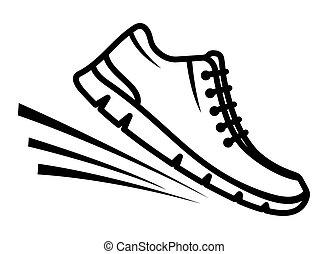 Funcionamiento, zapatos, icono,