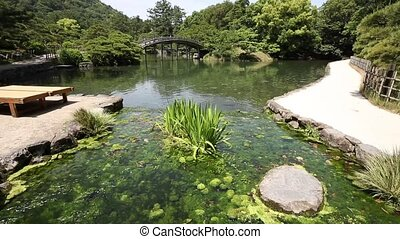 Japanese garden with pond and river