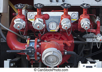 Fire pump panel on fire truck Discharge gauges and piston...