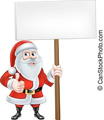 Thumbs Up Santa Sign - A Christmas cartoon Santa Claus...