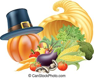 Thanksgiving Cornucopia - Thanksgiving golden horn of plenty...