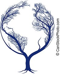 Earth tree - A tree growing in the shape of planet earth