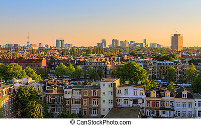 Amsterdam sunset cityscape - Beautiful cityscape looking...