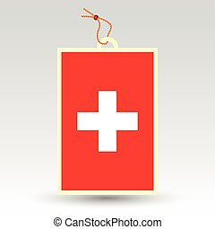 vector simple swiss price tag - symbol of made in...