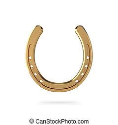 Golden horseshoe on white background