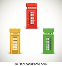 Colored telephone booths, Londone style. Vector illustration...