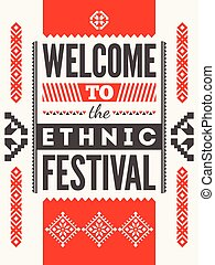 Ethnic festival poster Typographical design with folk...