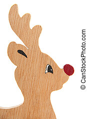 Rudolph the red nose reindeer from wood