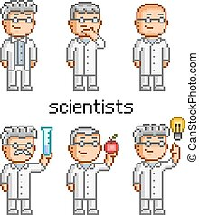 Vector pixel art scientist Doctor, professor, teacher and...