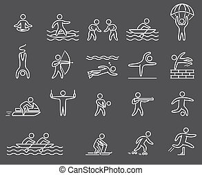 Lineart figure athletes Icons popular sports Outline vector...