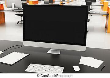desk in modern corporate office