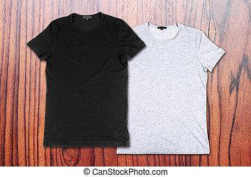 legno, parete,  T-shirts, fondo, vuoto