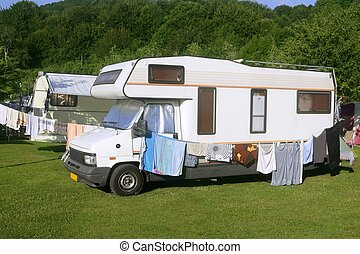 Caravan van in the green meadow camping - Caravan van in the...
