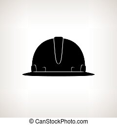 Silhouette Hard Hat, Safety Helmet on a Light Background...