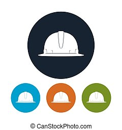 Icon Hard Hat, the Four Types of Colorful Round Icons Safety...