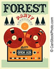 Open air forest party poster - Vintage open air forest party...