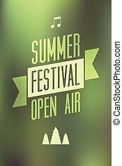 Summer festival open air poster Typographical vector...