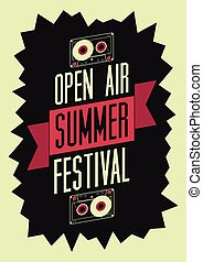 Summer festival open air poster Retro typographical vector...