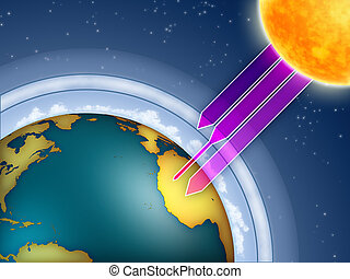 Ozone layer - Atmospheric ozone filtering the sun...