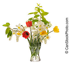springtime bouquet with daffodils, tulips, bird cherry in...