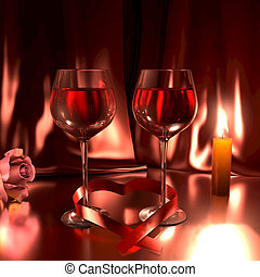 Romantic scene with glasses of good red wine,a rose, lit candle