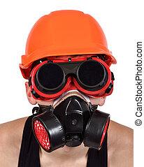 worker in bio-hazard mask on white background