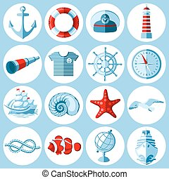Nautical icons set - Vector set of round Nautical and marine...