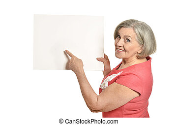 Full length portrait of senior woman holds banner in red...