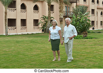 Senior couple at tropic - Portrait of a senior couple at...