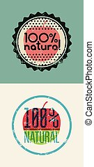 "Set of two labels ""100% Natural"". Grunge rubber stamp for..."