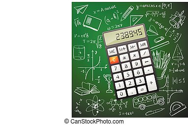 Mathematics hand drawing with a calculator, excellent vector...