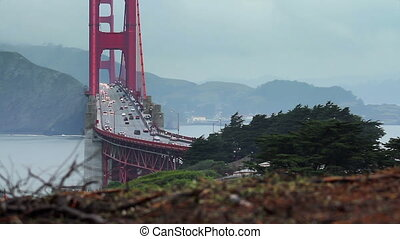 Golden Gate Bridge Wide - Time-lapse view on a cloudy day of...