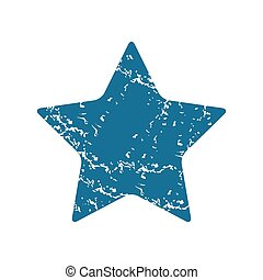 Star grunge icon - Grunge blue icon with image of star,...