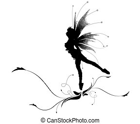 Dancing elf - Illustration of a silhouette dancing elf on a...